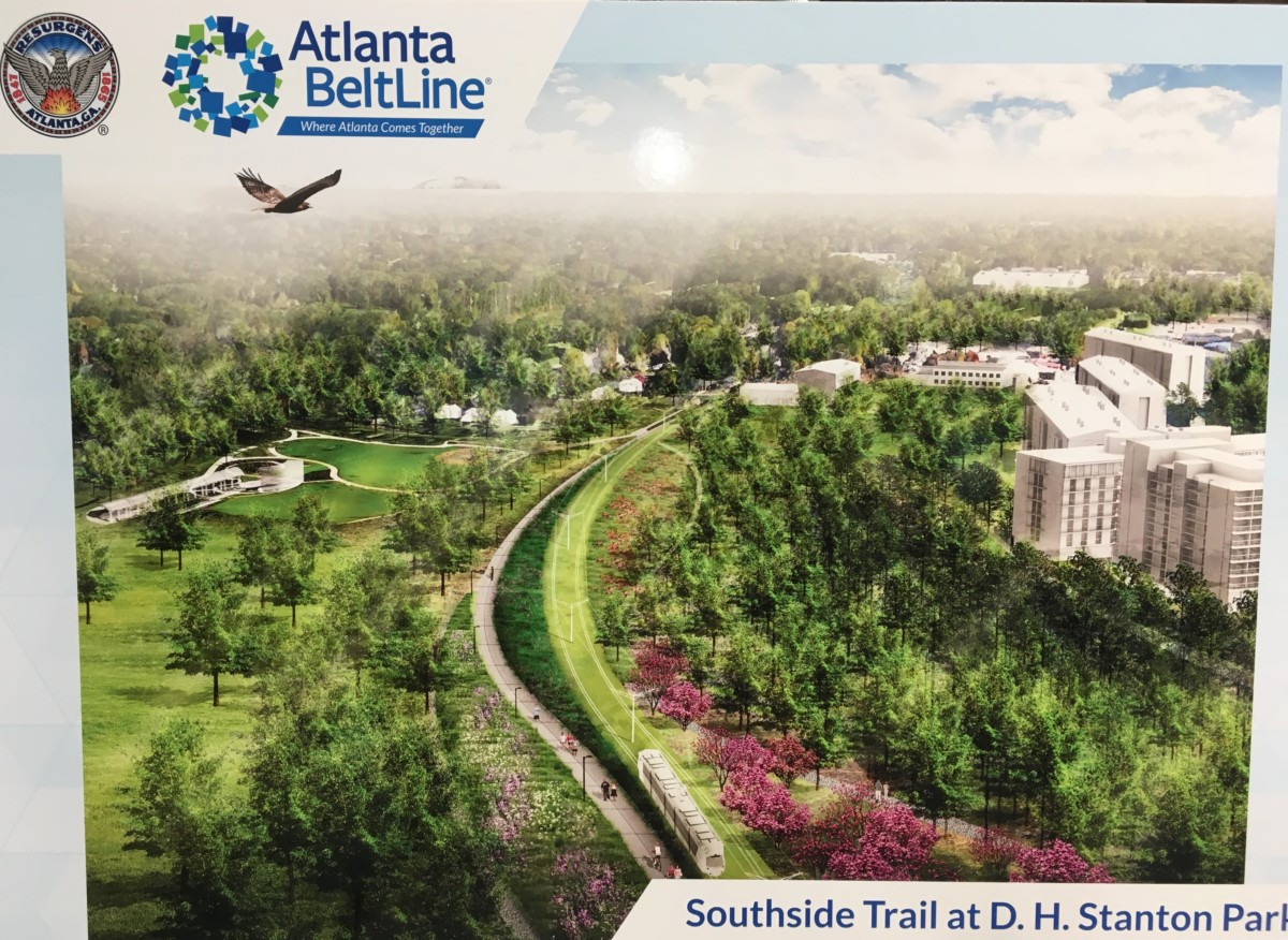 A 2017 sketch shows an idea of how the Southside BeltLine may someday look at D.H. Stanton Park.