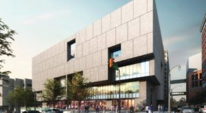 A slide presented by Cooper Carry on Wednesday shows proposed new windows on the front of Atlanta's Central Library.