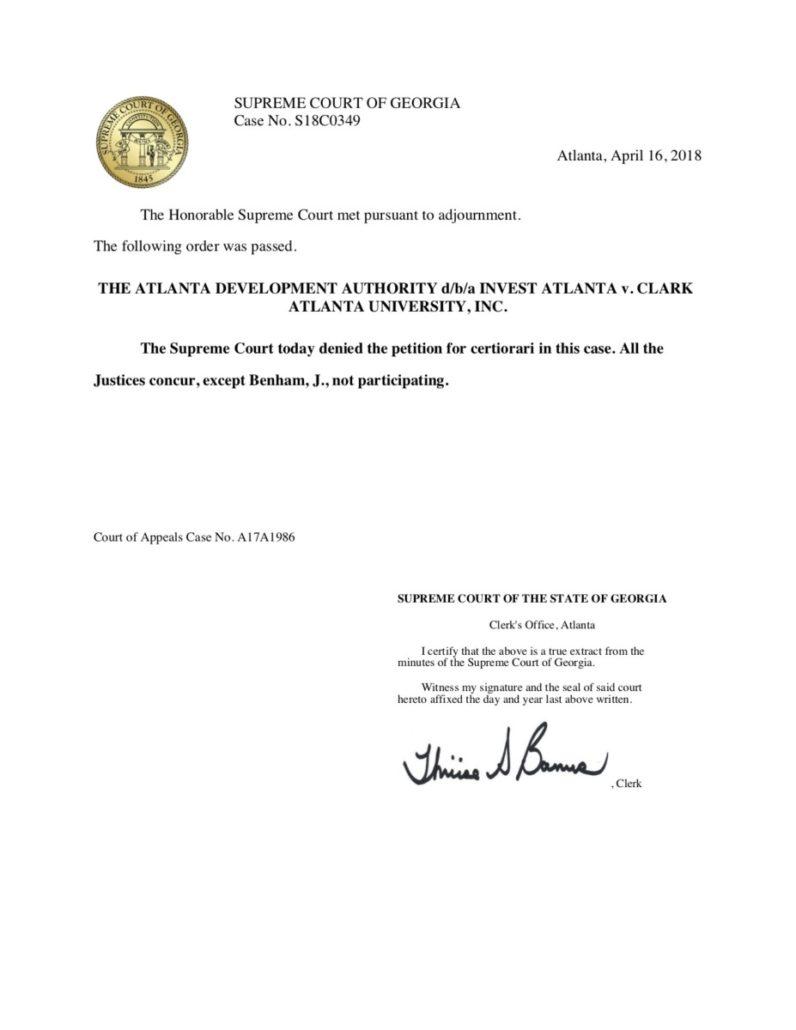 Georgia Supreme Court CAU Invest Atlanta