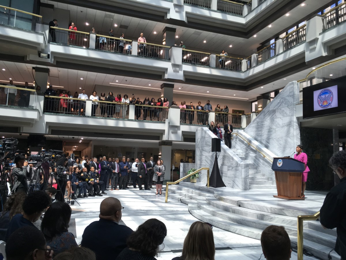 """At a Tuesday press conference about 100 days into her administration, Atlanta Mayor Keisha Lance Bottoms thanked employees for their work during an """"uncomfortable"""" time. Credit: Maggie Lee"""