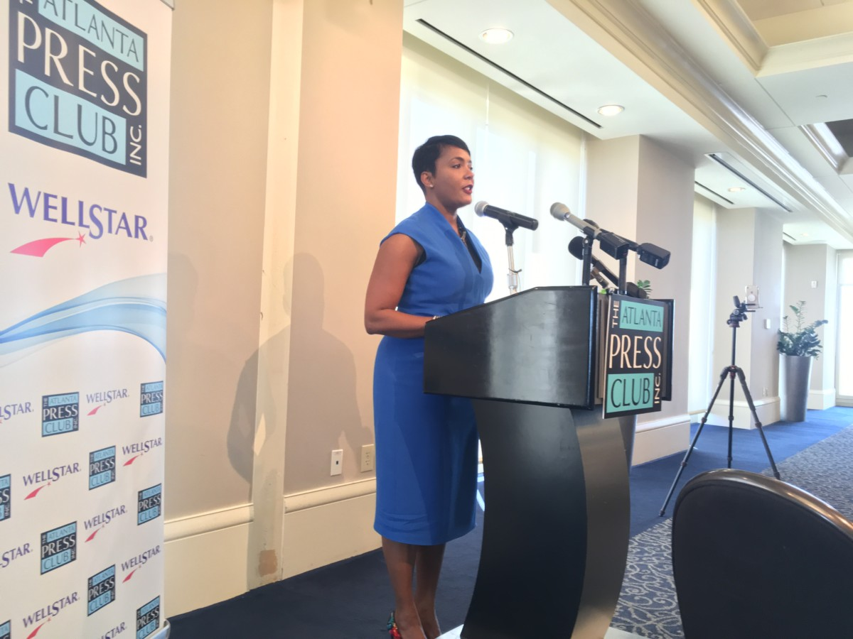 Atlanta Mayor Keisha Lance Bottoms speaking on April 18, said it's a new day in the city of Atlanta. News had just broken that City Hall had been served with subpoenas for information in a bribery scandal dating to the previous administration. Credit: Maggie Lee