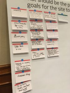 What people at the meetings said should be the goals for the Civic Center site. Credit: Maggie Lee