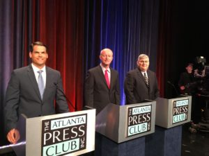 Geoff Duncan (left), Rick Jeffares and David Shafer, Republican candidates for lieutenant governor, at Thursday's Atlanta Press Club debate. Credit: Maggie Lee
