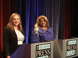 Sarah Riggs Amico (l) and Triana Arnold James (r), candidates in the Democratic primary for lieutenant governor. Credit Maggie Lee