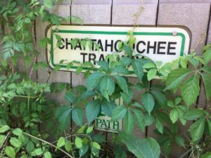 The old Chattahoochee Trail and PATH Foundation sign are getting a bit overgrown. Though the city has done basic maintenance and upkeep on the trail. Credit: Maggie Lee