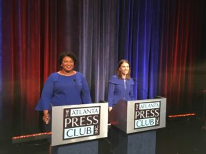 Stacey Abrams (l) and Stacey Evans, Democrats seeking a spot in the race to be the next governor of Georgia. Credit: Maggie Lee