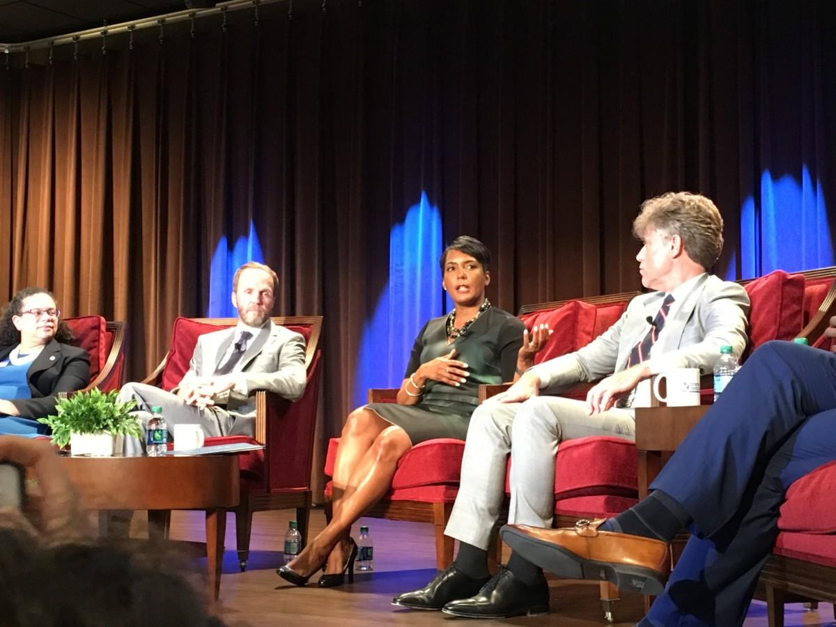 Atlanta Mayor Keisha Lance Bottoms speaks at the BeltLine Quarterly Briefing on Monday. Credit: Maggie Lee