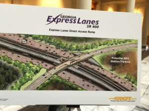 A state sketch showing the express lanes planned for Georgia 400. For a fee, drivers will get into a separate lane of traffic. Credit: Maggie Lee