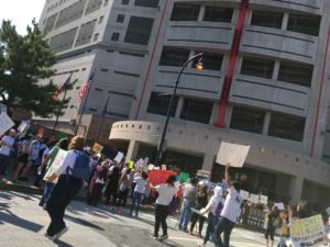 In a September, 2017 file photo, protesters gather at the Atlanta city jail to rally for a right to stay for people brought to the U.S. from other countries as children. Many activists have long been unhappy with Atlanta's deal to house ICE detainees. Credit: Maggie Lee