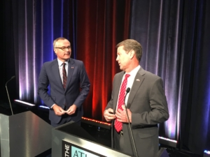 Lt. Gov. Casey Cagle (l) and Secretary of State Brian Kemp on Thursday in Atlanta, just before a debate in the runoff for the GOP gubernatorial nomination. Credit: Maggie Lee