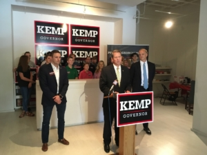 Brian Kemp at his Buckhead campaign office on Wednesday, ahead of the Donald Trump tweet. Credit: Maggie Lee