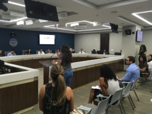 About two dozen people addressed the Mayor's Advisory Council on Immigrant Detention. Credit: Maggie Lee