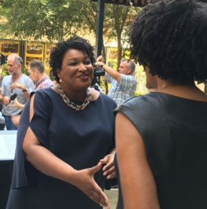 Democrat gubernatorial candidate Stacey Abrams speaks with supporters after an Atlanta press conference on Friday. Credit: Maggie Lee