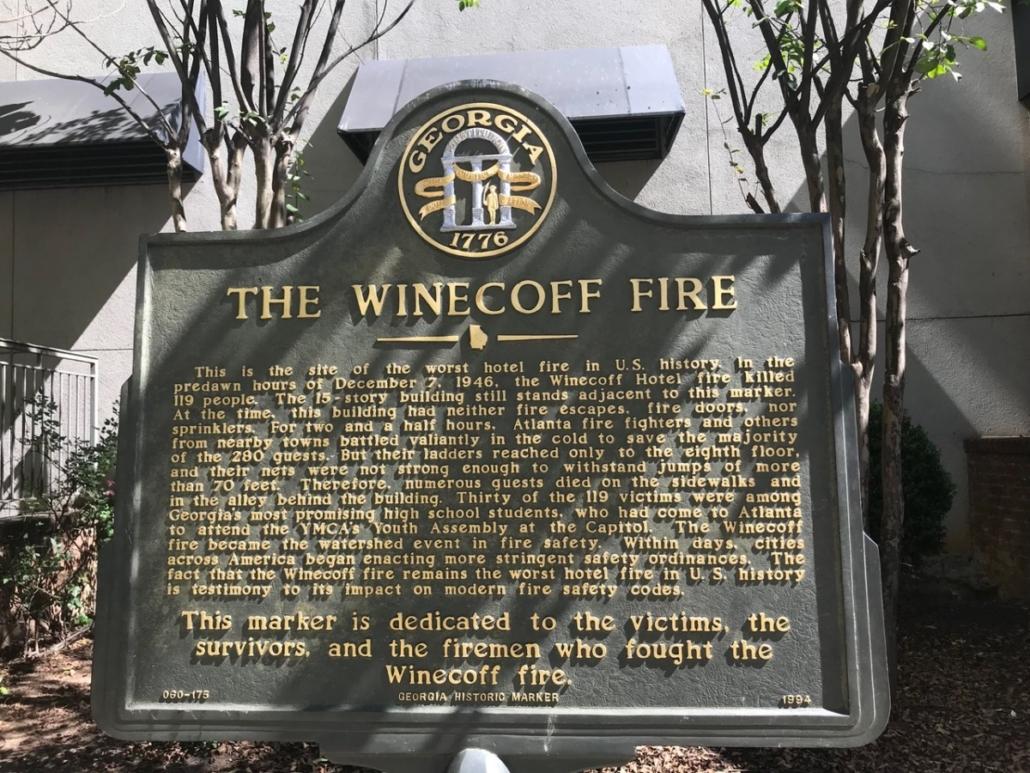 Winecoff hotel historic marker
