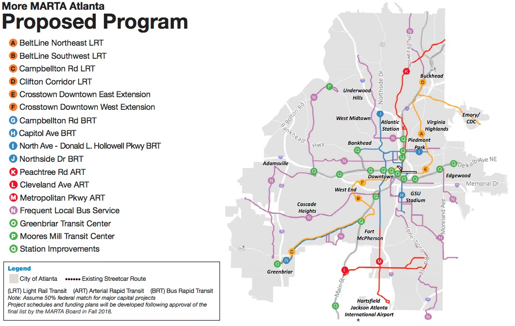 MARTA's proposal for bus and light rail builds with a new sales tax. Click for a larger version. Credit: MARTA
