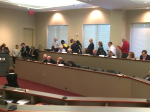A 2014 file photo shows about a dozen people signed up to speak at the Atlanta Regional Commission board meeting. Most called on the ARC to allow public comment, a procedure the board added to its bylaws later in the meeting. Credit: David Pendered