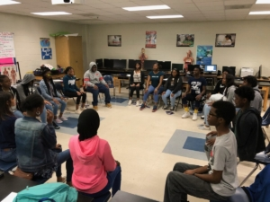 Students at Washington High School learning meditation through the Dharma Project. Credit/Courtesy: Rutu Chaudhari