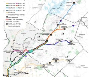 One map from Gwinnett's transit plan shows the rough location of what would be the county's first MARTA train station plus some of the bus routes that would run to it.