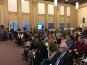 Part of the audience for a public meeting on the Gulch deal at City Hall on Wednesday. More folks sat in an overflow room. Credit: Maggie Lee