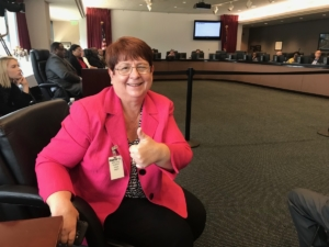 Gwinnett County Commission Chairwoman Charlotte Nash on Thursday, just after the MARTA board approved terms under which the county could join the transit agency. Credit: Maria Saporta