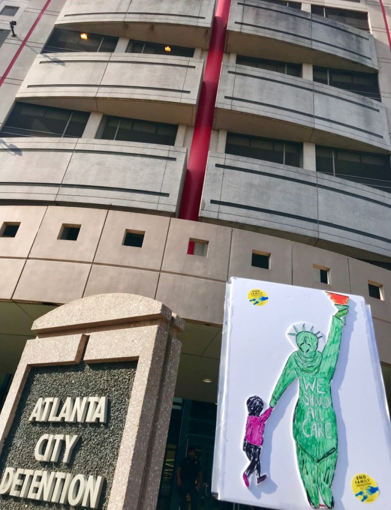 Atlanta's city jail, pictured in a 2017 file photo from a rally against immigrant family separation. In 2018, Atlanta ended a contract to house ICE detainees. Credit: Kelly Jordan