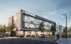 A rendering of Morehouse School of Medicine's Lee Street Campus, now under construction. Credit: The Wilbert Group