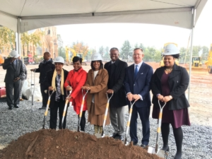 Friday morning's groundbreaking for MSM's Lee Street Campus, L-R: Atlanta City Councilwoman Cleta Winslow, Mayor Keisha Lance Bottoms, MSM President and Dean Valerie Montgomery Rice, MSM Board of Trustees Chair Arthur Collins, Carter President and CEO Scott Taylor and fourth-year medical student Macy McNair. Credit: Maggie Lee