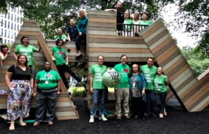 Folks from the Trust for Public Land, Park Pride and the Atlanta Downtown Improvement District showed up at Woodruff park on foot on Wednesday as part of a park access campaign. Credit: Kelly Jordan