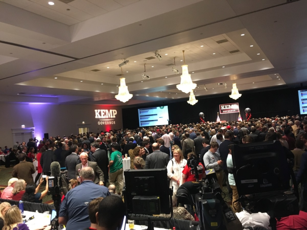 Brian Kemp's watch party, getting more loud and crowded as midnight nears. Credit: Maggie Lee