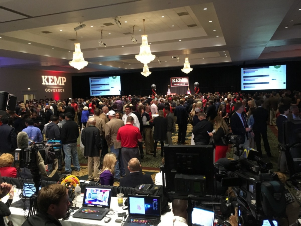 Brian Kemp's watch party in Athens, as of about 10:30 p.m.. Credit: Maggie Lee
