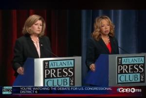 Karen Handel (left) and Lucy McBath, in a screenshot from an Oct. 23, 2018 debate.