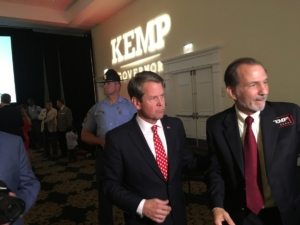 Brian Kemp did not declare victory in a close gubernatorial contest, but he said the math is on his side. Credit: Maggie Lee