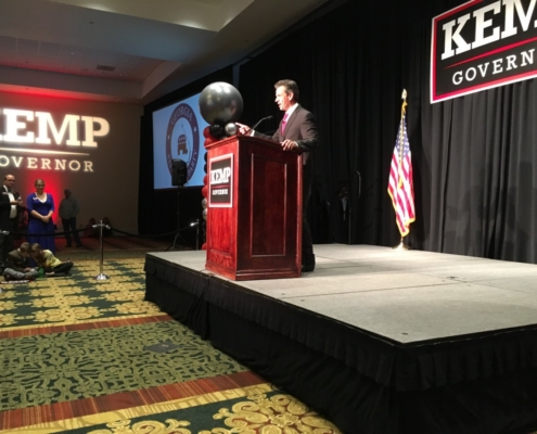 U.S. Rep. Tom Graves, the Republican from northwest Georgia's 14th congressional district, at Brian Kemp's watch party on Nov. 6. Credit: Maggie Lee