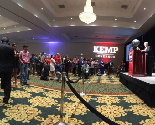Sen. Johnny Isakson in Athens, at Republican gubernatorial candidate Brian Kemp's watch party, Nov. 6, 2018. Credit: Maggie Lee