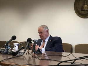 State House Speaker David Ralston, R-Blue Ridge, said that he's not sold on the idea of a state takeover of Atlanta's airport. He was speaking at a state Capitol press conference on Thursday. Credit: Maggie Lee
