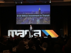 """Jeffrey Parker, general manager and CEO of MARTA, said on Friday at the annual """"State of MARTA"""" breakfast that metro Atlanta should spend $100 billion on transit infrastructure and technology over the next 40 years. Credit: Maggie Lee"""