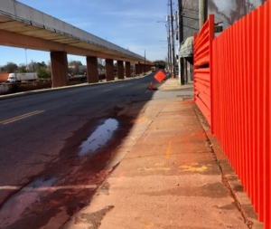 """DeKalb Avenue was scheduled for """"complete street"""" upgrades with space for bikes, pedestrians and cars. But it might not get any further than the design stage. Credit: Kelly Jordan"""