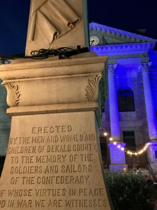 The Confederate marker in downtown Decatur that no one wants, but that the county can't remove. Credit: Kelly Jordan