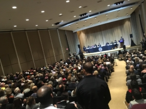 A Buckhead town hall with Atlanta Mayor Keisha Lance Bottoms was full before the program started on Thursday evening. Credit: Maggie Lee
