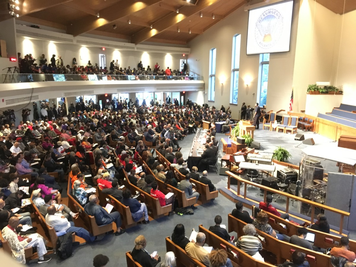 Cascade United Methodist Church holds about 1,200 people and it was nearly full for a Tuesday night town hall with Atlanta Mayor Keisha Lance Bottoms. Credit: Maggie Lee