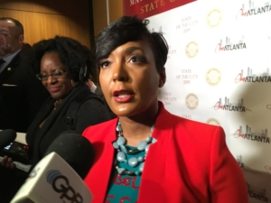 Atlanta Mayor Keisha Lance Bottoms on Thursday, just after her State of the City address. She says legislation is coming to start a city Department of Transportation. Credit: Maggie Lee