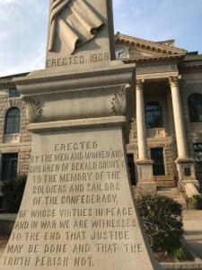 Decatur's Confederate monument, which neither the city nor DeKalb County wants. But state law protects it from easy removal. Credit: Kelly Jordan.