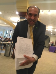 Jairo Garcia, Atlanta co-chair of The Climate Reality Project and something like 1,400 petitions for clean, affordable energy. Credit: Maggie Lee