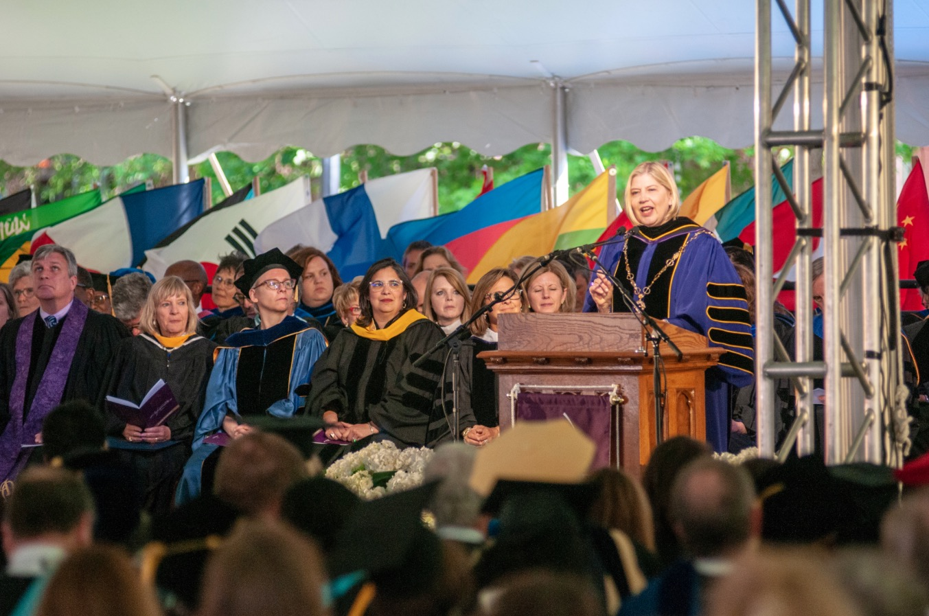 Leocadia Zak at the podium on her inauguration day as president of Agnes Scott College, April 26, 2019. Credit: Courtesy Agnes Scott College/Photographer Tom Meyer