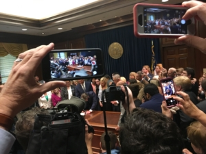 In front of supporters and media, Georgia Gov. Brian Kemp signed a bill he promised to support during his campaign: a near-total ban on abortion after six weeks of pregnancy. Credit: Maggie Lee