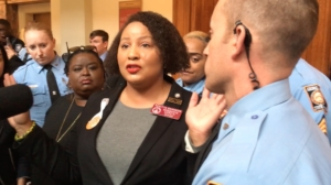 State Rep. Renitta Shannon was among Democratic lawmakers and other opponents of HB 481 asked by Capitol law enforcement to disperse from a hallway after a key vote. Credit: Maggie Lee
