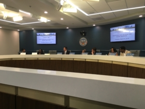 Atlanta City Council members and guests talked participatory budgeting on April 30. Attendance at the public meeting — on a weekday morning — was normal. Maybe two dozen folks, many of whom were city staff. Credit: Maggie Lee