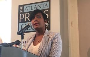 Atlanta Mayor Keisha Lance Bottoms, speaking at the Atlanta Press Club on Tuesday, Credit: Maggie Lee