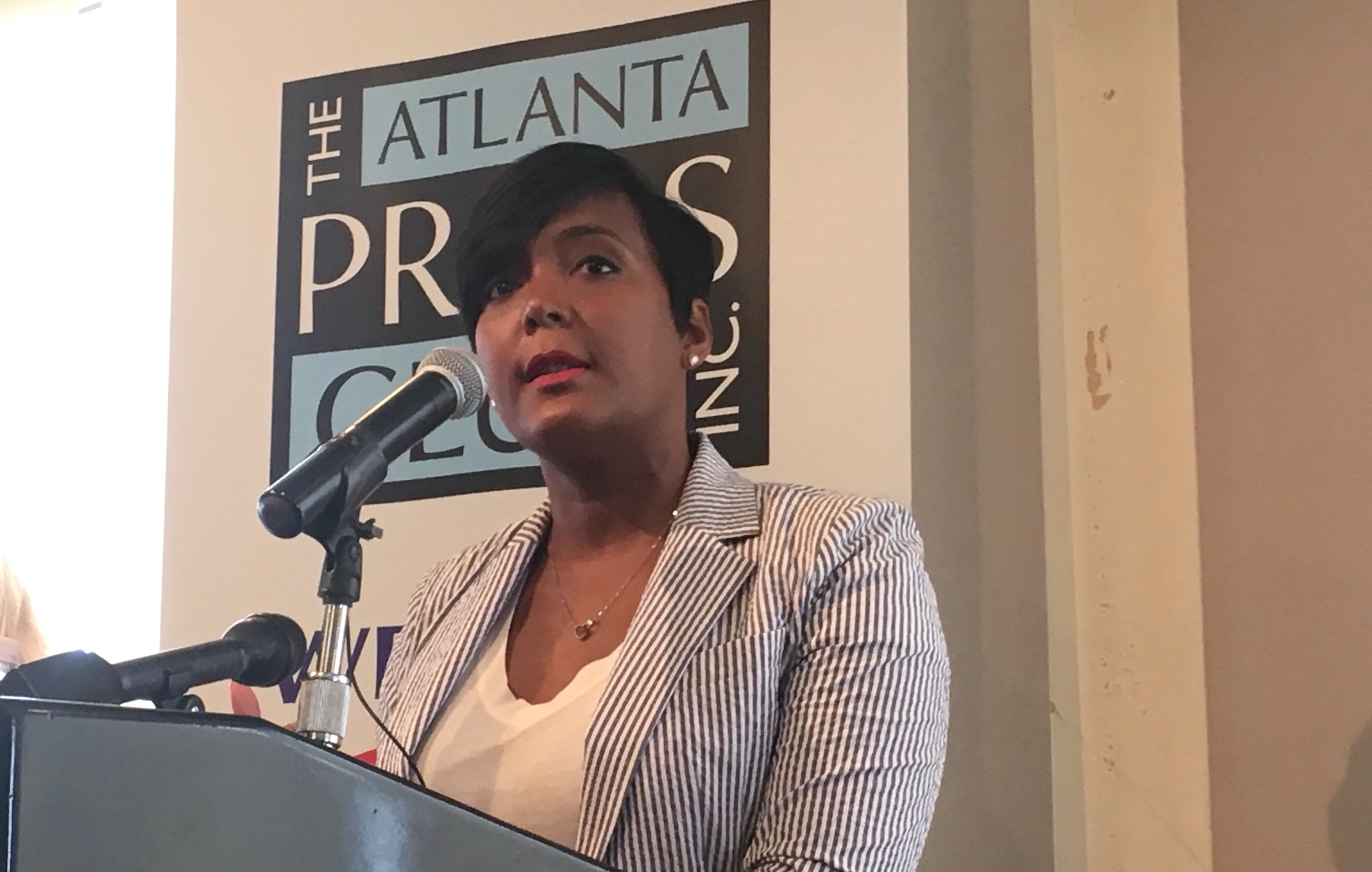 Atlanta Mayor Keisha Lance Bottoms, speaking at the Atlanta Press Club on Tuesday, Credit: Maggie Lee