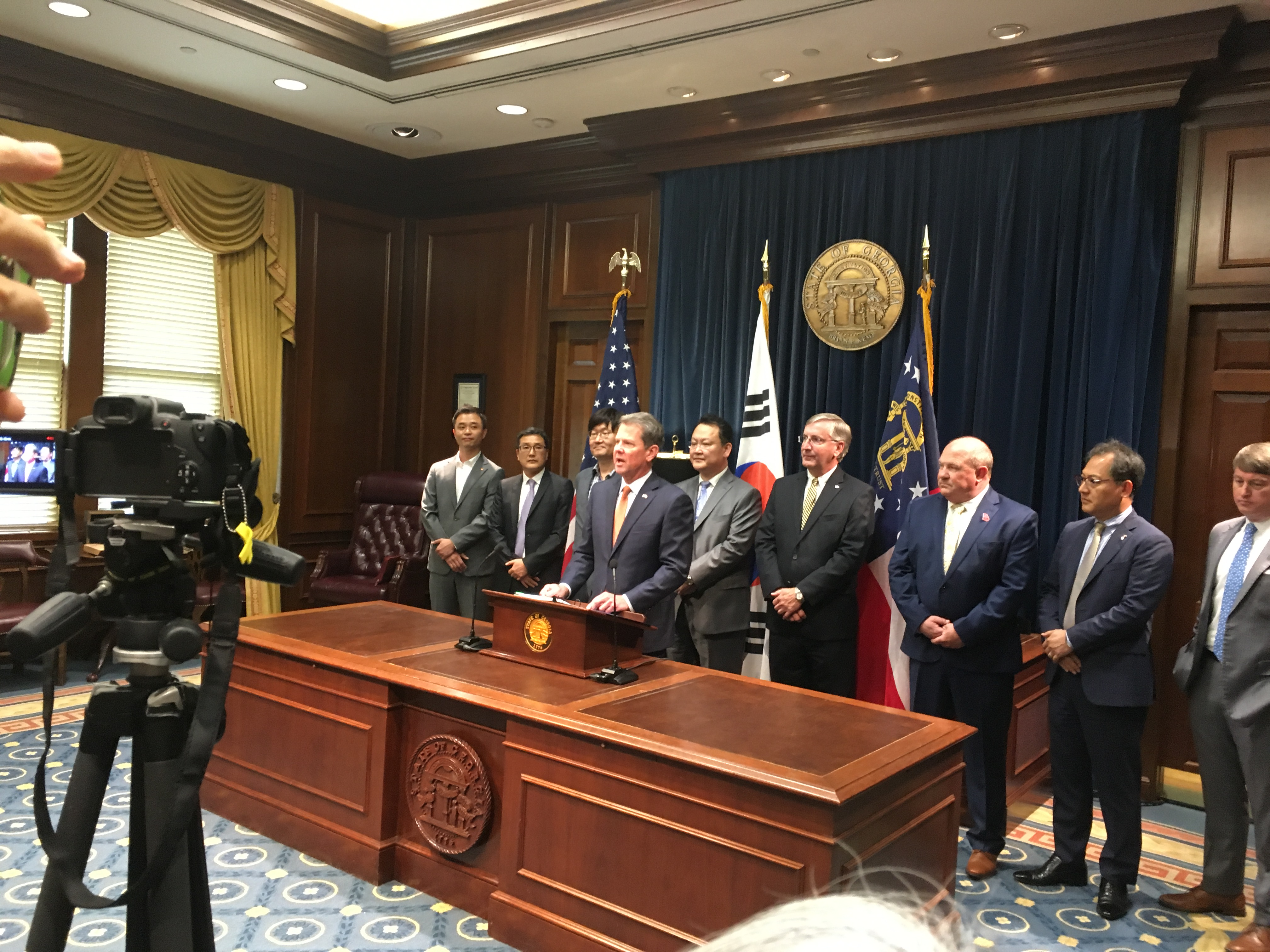 Gov. Brian Kemp and representatives of South Korean companies in Georgia at the Capitol on June 13. Credit: Maggie Lee